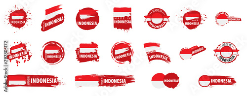Cuadros en Lienzo  Indonesia flag, vector illustration on a white background