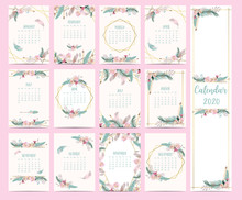 Doodle Calendar Set 2020 With Flower,feather For Children.Can Be Used For Printable Graphic.Editable Element