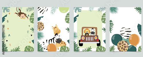 Green animal collection of safari frame set with leaf,leaves vector illustration Wallpaper Mural
