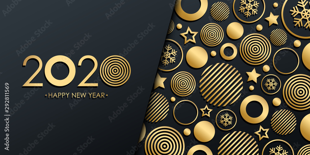Fototapeta 2020 New Year luxury holiday banner with gold christmas balls, stars and snowflakes. Vector illustration.