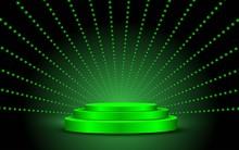 Geen Podium With Green Light In The Dark Room