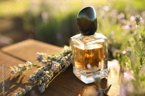 Obraz Bottle of luxury perfume and lavender flowers on wooden table in blooming field. Space for text - fototapety do salonu