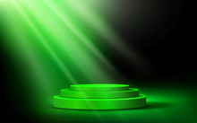 Green Podium With Blue Light I...