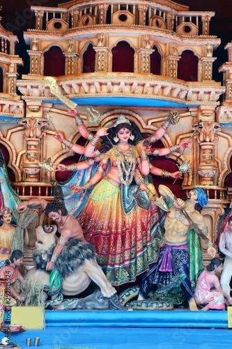 Türaufkleber Phantasie Goddess Durga idol at decorated Durga Puja pandal, shot at colored light, at Kolkata, West Bengal, India. Durga Puja is biggest religious festival of Hinduism and is now celebrated worldwide.