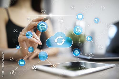 Obraz na plátně  Cloud technology concept on virtual screen