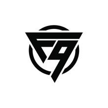 F9, 9F Triangle Logo Circle Monogram Design Vector Super Hero Concept