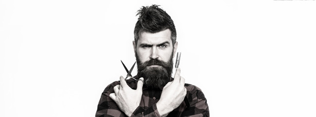 Bearded man, bearded male. Portrait of stylish man beard. Barber scissors and straight razor, barber shop. Vintage barbershop, shaving. Black and white