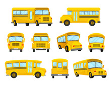 The Set Of Illustrations Of Nine Yellow School Buses In Different Shapes And Design