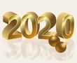 New golden 2020 year wallpaper, vector illustration