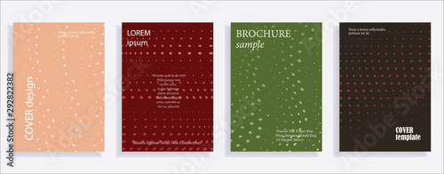 Fototapeta Minimalistic cover design templates. Set of layouts for covers of books, albums, notebooks, reports, magazines. Line halftone gradient effect, flat modern abstract design. Geometric mock-up texture obraz na płótnie