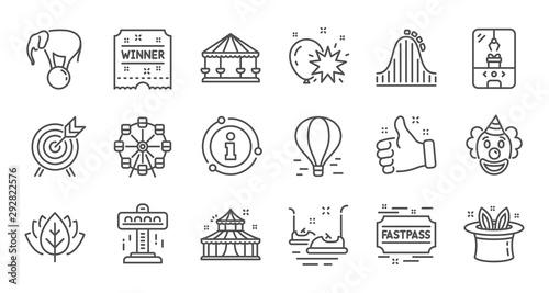 Amusement park line icons Canvas Print