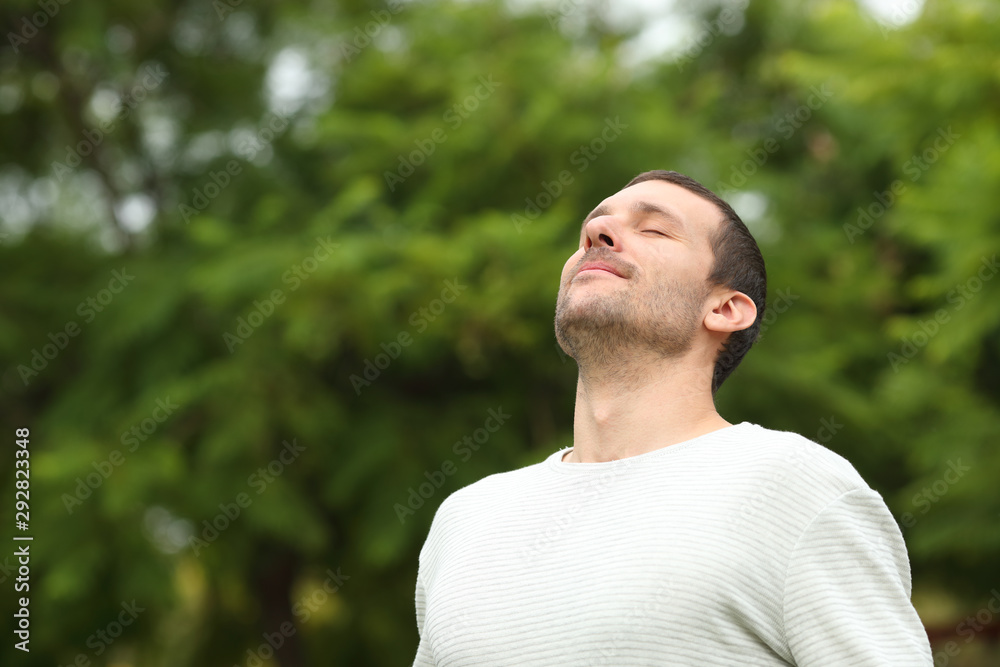 Fototapeta Relaxed adult man breathing fresh air in a forest