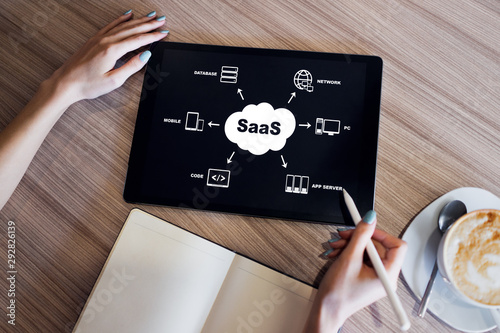 Fototapeta  SaaS - software as a service. Internet and technology concept.