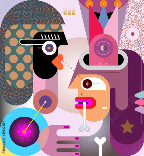 Printed kitchen splashbacks Abstract Art Man with a bone in his mouth