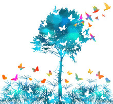 Silhouette Of Grass On White Background. Picturesque Landscape With A Tree And Butterflies. Multi-colored Butterflies. Vector Illustration