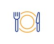Dinner sign. Restaurant food line icon. Hotel service symbol. Colorful outline concept. Blue and orange thin line restaurant food icon. Vector