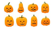 Set Of Halloween Pumpkins With...