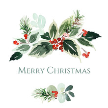 Christmas Watercolor Card With...