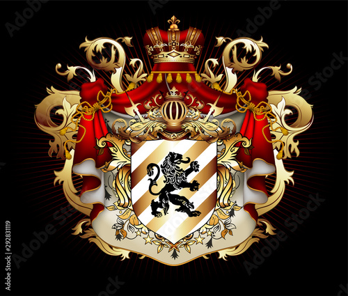 Fototapety, obrazy: Heraldic shield with a crown and royal mantle, richly ornamented, on a black background.  3D vector. High detailed realistic illustration