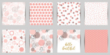 Baby Girl Pink Seamless Patterns Set Dot Print Pink Paper Background Hand Drawn Abstract Design