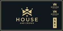 Set Of Crown And Home Logo For...