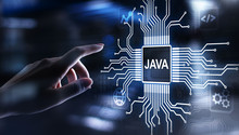 Java Programming Language Application And Web Development Concept On Virtual Screen.