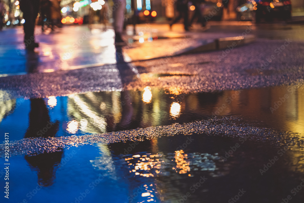 Fototapety, obrazy: Night street in a big city after rain, night lights, bokeh, blur and reflection in a puddle
