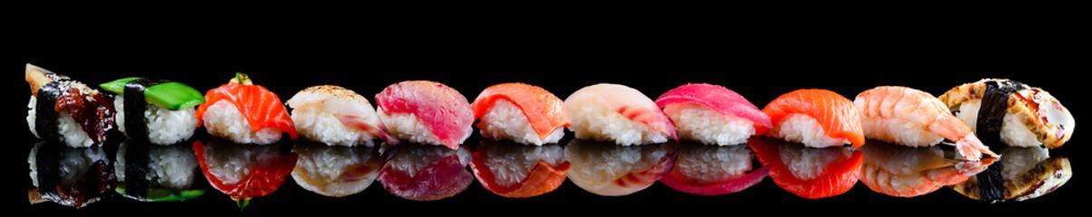 sushi set nigiri on a black background