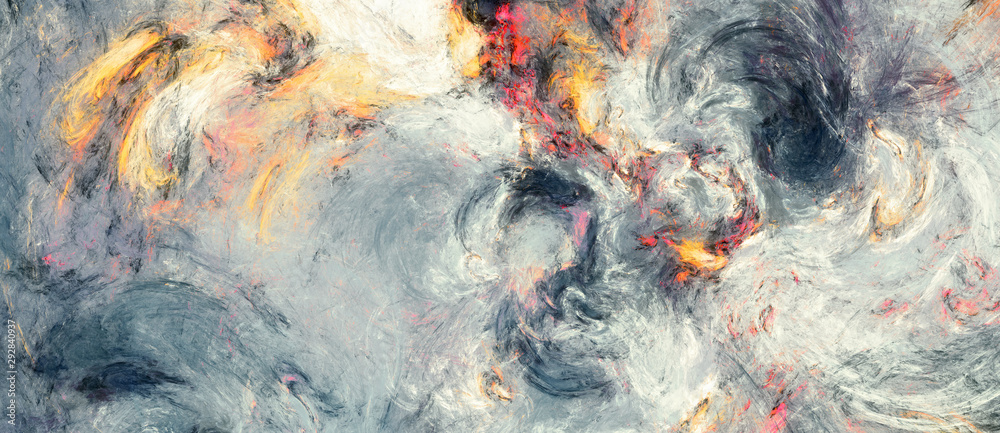 Fototapeta Abstract painting texture. Modern watercolor pattern. Wide soft grey background. Fractal artwork for creative graphic design