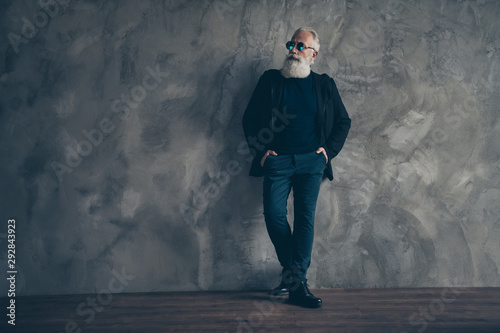 Fototapety, obrazy: Full length photo of concentrated harsh masculine man looking in eyeglasses eyewear isolated over gray background