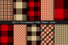 Set Of 10 Lumberjack Plaid Pat...