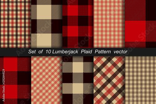 Obraz Set of 10 Lumberjack plaid pattern. Lumberjack plaid and buffalo check patterns. Lumberjack plaid tartan and gingham patterns. Vector illustration - fototapety do salonu