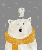 akwarela i ołówek rysunek niedźwiedzia polarnego z sową na głowie. Boże Narodzenie ilustracja - 292845795