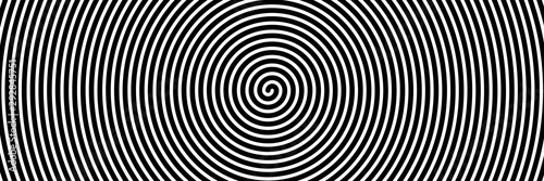 Deurstickers Spiraal Black spiral on white banner 03