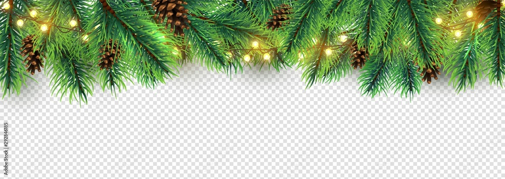 Fototapety, obrazy: Christmas border. Holiday garland isolated on transparent background. Vector Christmas tree branches, lights and cones. Festive banner design. Christmas branch coniferous garland border illustration