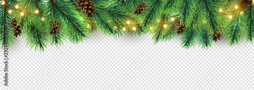 Fototapeta Christmas border. Holiday garland isolated on transparent background. Vector Christmas tree branches, lights and cones. Festive banner design. Christmas branch coniferous garland border illustration obraz