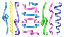 Color Ribbons. Vector Rolled R...