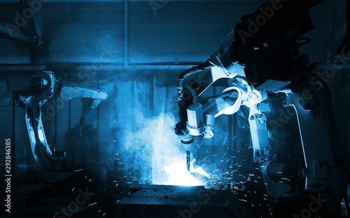 automate wireless Robot arm in smart factory background Wallpaper Mural