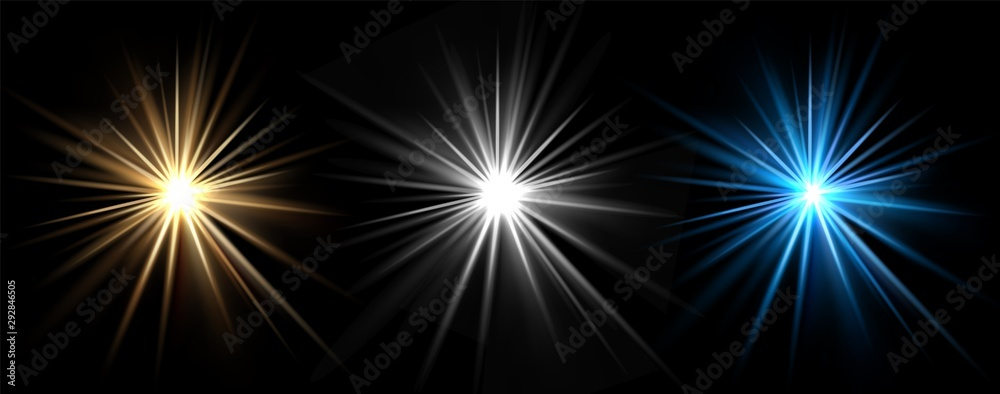 Fototapeta Light effects. Vector light stars. Glow bursts isolated on black background. Illustration flash light effect, blue and white