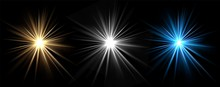 Light Effects. Vector Light Stars. Glow Bursts Isolated On Black Background. Illustration Flash Light Effect, Blue And White