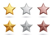 Realistic Stars. Gold Silver Bronze Stars Isolated On White Background. 3D Vector Metal Elements. Illustration Silver And Gold Star, Bronze Award