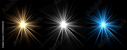 Obraz Light effects. Vector light stars. Glow bursts isolated on black background. Illustration flash light effect, blue and white - fototapety do salonu