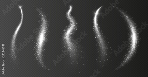 Obraz Sparkle stardust. Silver magic trail. Vector shining waves isolated on transparent background. Illustration magic sparkle trail, christmas effect glow - fototapety do salonu
