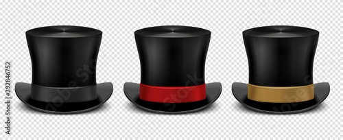 Fototapeta Realistic top hat. Magic hat vector. Vintage black gentleman headwears isolated on transparent background. Illustration top hat, cylinder magic for entertainment obraz