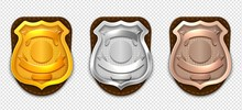 Realistic Police Badges. Secur...