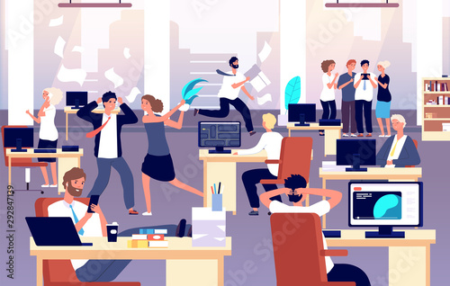 Fototapeta Chaos in workplace. Sleepy lazy, unorganized employees in office. Bad organization control, business corporate problems vector concept. Work office day, relax and running routine illustration obraz na płótnie