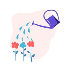 Vector Watering Can Water Flow...