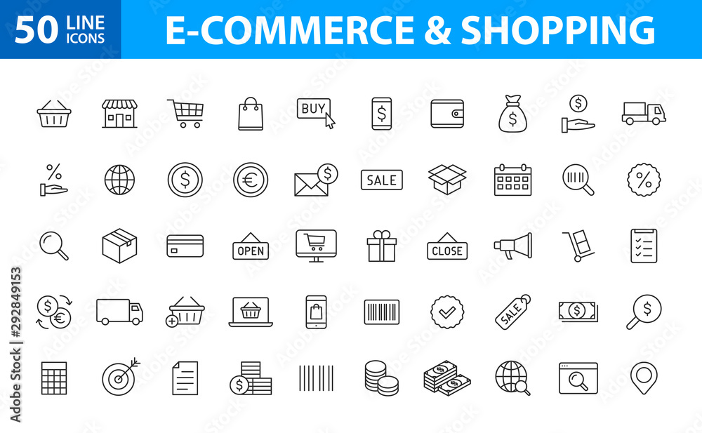 Fototapeta Set of 50 E-commerce and shopping web icons in line style. Mobile Shop, Digital marketing, Bank Card, Gifts. Vector illustration.