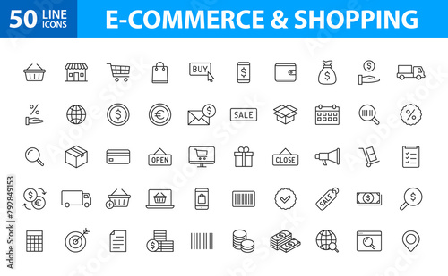 Set of 50 E-commerce and shopping web icons in line style. Mobile Shop, Digital marketing, Bank Card, Gifts. Vector illustration. - 292849153