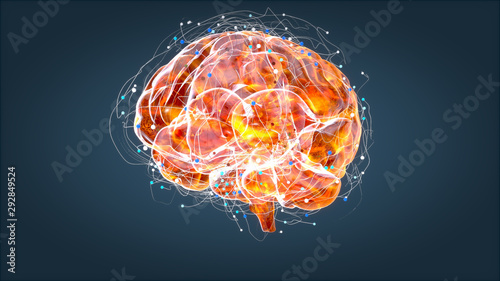 Fotografia Brain xray, human anatomy, 3D Illustrated neurons